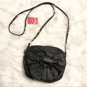Candies faux leather bow crossbody purse bag